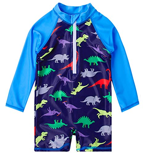 uideazone Baby Boys Dinosaur One-Piece Full Body Swimsuit Kids UV50+ Swimwear Bathing Suit Beach Surf Long Sleeve Shirt 18-24 Months