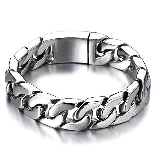 COOLSTEELANDBEYOND Top-Qualität Panzerkette Herren Armband Edelstahl Hochglanz Poliert Farbe Silber