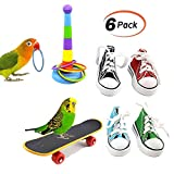 6 Pack Bird Training Toys Mini Sneaker Skateboard Intelligence Training Rings Parrot Foot Toys for Budgie Parakeet Cockatiel Conure Lovebird Finch Macaw African Grey Cockatoo Amazon Cage