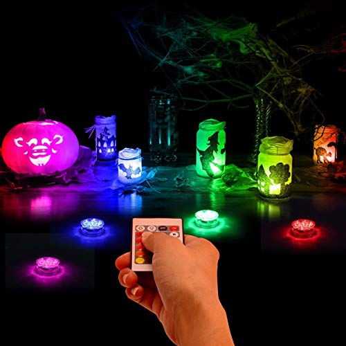 2 Pack Submersible Led Lights Pond Fountain Lights Battery Operated Waterproof Pool Lighting Products with Remote and 16 Colors Decorative Lights for Vase,Fish Tank,Wedding,Halloween,Christmas