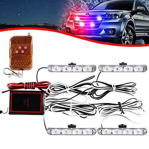 4x4 LED 4 en 1 Remoto Inalámbrico Luz de Advertencia Estroboscópica DC12V Intermitente de Emergencia Lámpara de Baliza Advertencia Estroboscópica Luz Externa de Emergencia(Rojo y Azul)