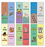 Creanoso Cat Puns Bookmarks (12-Pack) - Motivating and Humorous Cat Related Quotes - Inspirational and Ideal Gifts for Children Teenagers and Adults - Stocking Stuffers