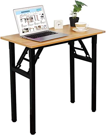 Need Small Desk Folding Desk No Assembly Required. Sturdy and Heavy Duty Desk for Small Space and Laptop Desk Damage Free Deliver(Teak Color Desktop & Black Steel Frame) AC5BB-E1(8040)