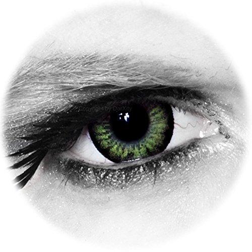* BIG * SEXY * SWEET * farbige Kontaktlinsen - grün - inklusive gratis Kontaktlinsenbehälter von DarXity, mit und ohne Stärke für schöne große Augen - Big Eyes Mangalinsen – Party Green, 2 Stück / BC 8.6 / DIA 15.0 / -4.50 Dioptrien