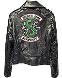 Yesgirl Riverdale Southside Serpents Giacca da Donna Ragazza alla Moda in Pelle Maglione in Pelle Slim Fit Maglione Senza Pancia Maglia Corta Moda A Nero Medium