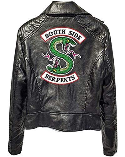 Yesgirl Riverdale Southside Serpents Jacke Damen Mode Lederjacke Coole Leder Pullover Frauen Slim Fit Sweatshirt Bauchfreier Pulli Kurz Crop Tops Oberteile Langarmshirts A Schwarz Small
