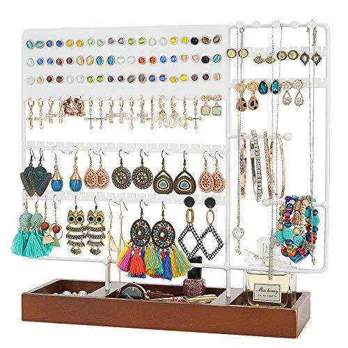Optyuwah - Soporte para joyas, soporte multifunción para pendientes, soporte de madera, para collares, anillos, pulseras, relojes, pendientes y más (color blanco)