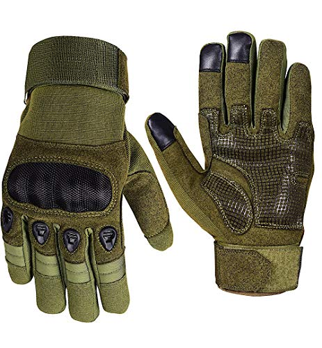 Tactical Gloves Touchscreen Men Kevlar Hard Knuckles Military combat Gloves Police search duty patrol search gloves (Medium, Green)