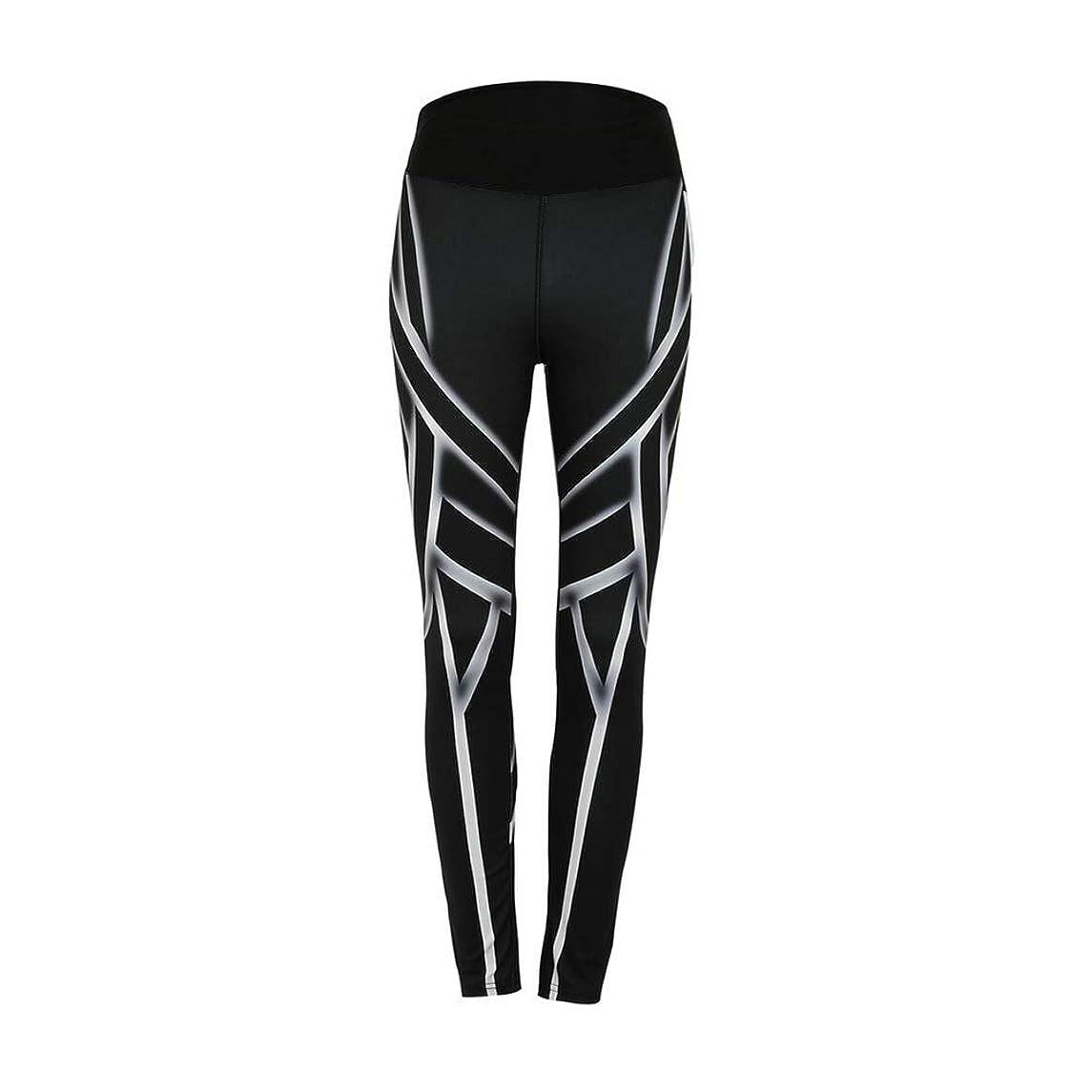 eroute66 High Waist Lines Printed Women Sport Fitness Yoga Leggings Slim Pencil Pants - Black S