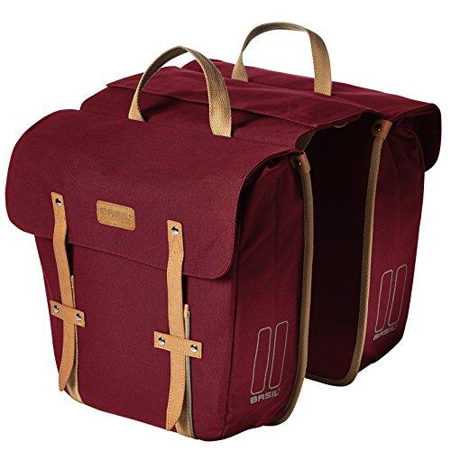 Basil Gepäckträgertasche Portland-Slimfit Double Bag Fahrradtasche, Red, 33 x 11 x 35 cm