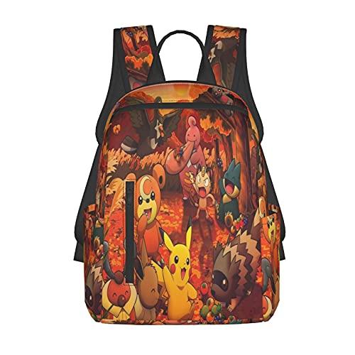 Mochila escolar para niños/niñas y adolescentes, divertida impresión 3d Poke_Mo_N de moda ligera senderismo portátil mochila, Negro13, Talla única