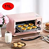 11L Household Electric Oven, Multi-Function Mini Roaster, Automatic Electric Oven Baking, Time and Temperature Controllable, 3D Curved Liner, for Friends and Family,Pink,C hsvbkwm (Color.
