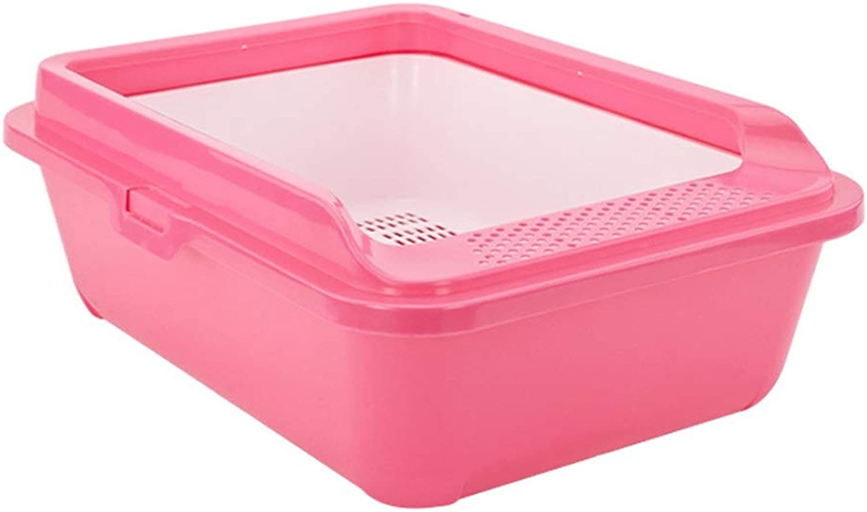 Cat Litter Boxes Cat Litter, Pet Supplies Large SemiClosed Pet Cat Toilet (color   Pink)
