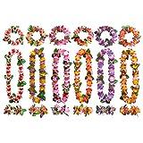 Flores Hawaianas Guirnalda Coloridos Hawaiana Collar Pulsera Collares de Colores Guirnaldas con 12 Pulseras 6 Diademas y 6 Collares Decoración de Fiesta para fiestas de verano, Tema de Playa 6PCS