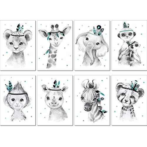 LALELU-Prints | A4 Bilder Kinderzimmer Deko Mädchen Junge | Zauberhafte Indianer-Tiere Boho Feder mint | Poster Babyzimmer | 8er Set Kinderbilder (DIN A4 ohne Rahmen)