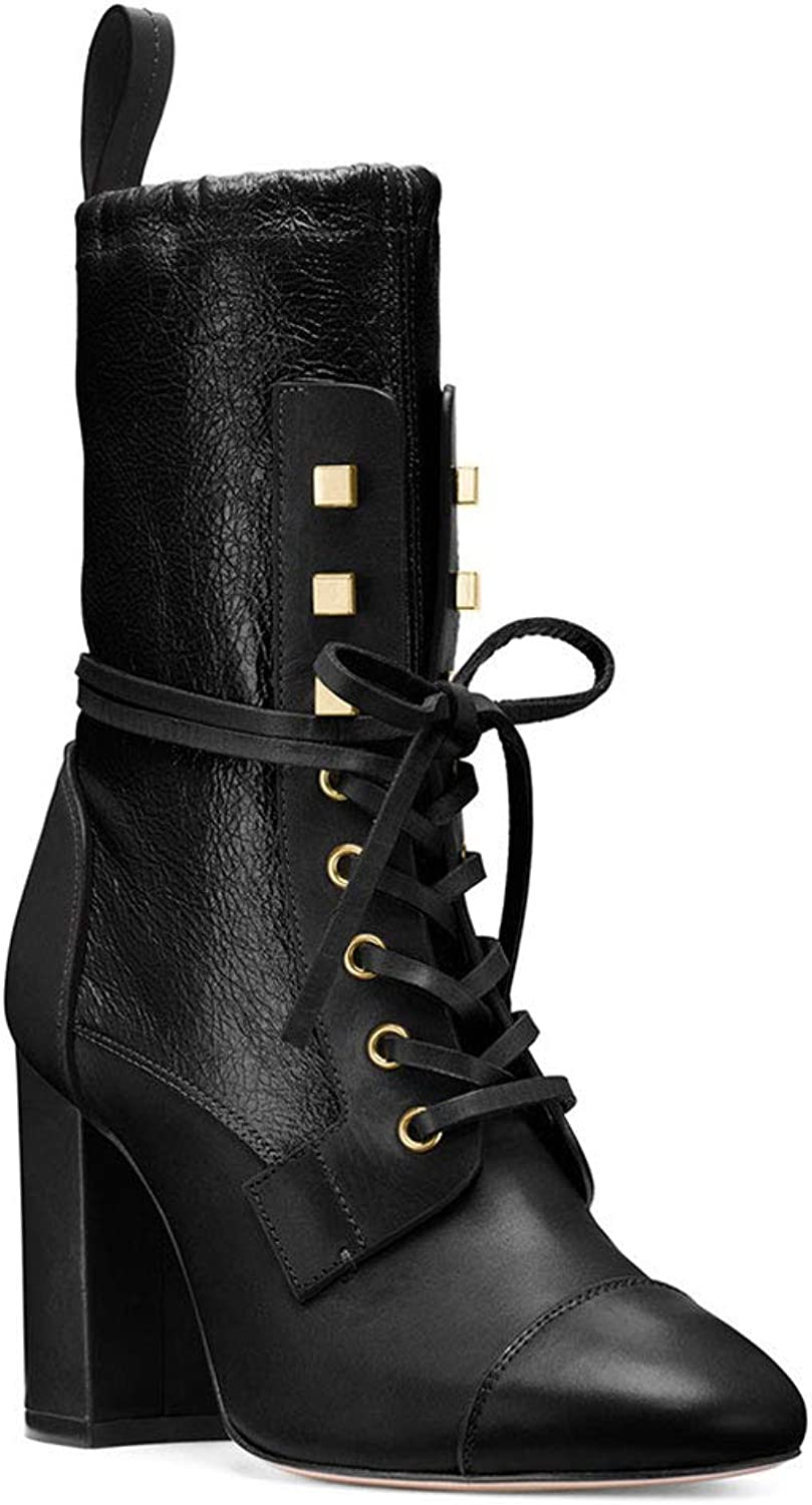 Women's High Heel and Ankle Boots Round Head Thick with Lace Metal Rivet Waterproof Platform Clothing with Walking Comfortable Short Boots Artificial PU