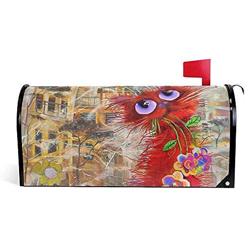 Garden 's dekorative rote Katze Blumen magnetische Mailbox Abdeckung21 * 18 Zoll 21 * 18 Zoll