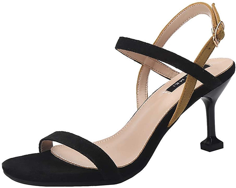 Lelehwhge Women's Fashion Open Toe Buckle Ankle Strap Slingback Kitten Heels Dress shoes Sandals Black 7 M US