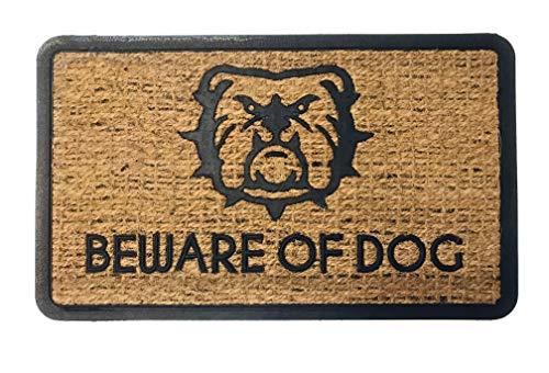 Felpudo Coco Natural Rectangular Beware of Dog (Cuidado con el Perro) 45X75 cm. con Goma Antideslizante