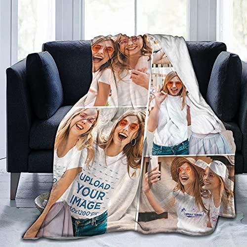 "Custom Blanket with Photos Personalized Throw Blanket with Photos Collage Super Soft Blanket for Birthday Gift 50""x41"""