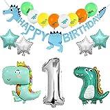 Keleily Decoracion Cumpleaños Dinosaurios 1 Año Niño Guirnaldas Cumpleaños Dinosaurios, Dinosaurio Gigante Globo, Globos de Helio Estrella para Suministros de Fiesta de Cumpleaños, Blue Dino, 16Pzs