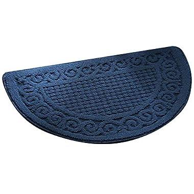 Olpchee Half Round Non-Slip Kitchen Bedroom Toilet Doormat Floor Rug Mat Keeps your Floors Clean Decorative Design (Large, Blue)