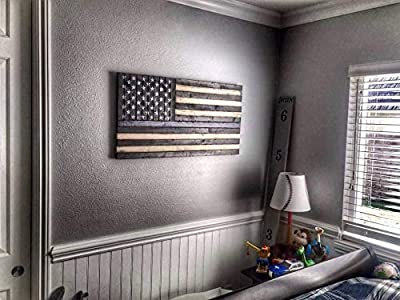 """Rustic Wooden Thin Blue Line American Flag; 19""""x37"""" by"""