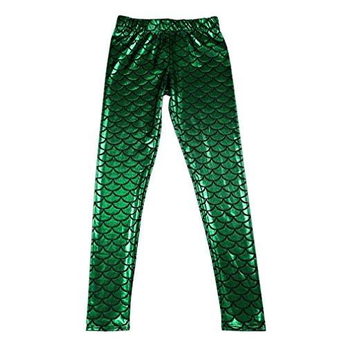 Groenen Zeemeermin Glanzende Gestippelde Draak Vis Schaal Leggings Mode Open Heldere Kleur