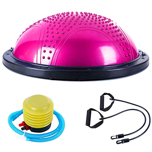 LYzpf Gymnastikball Halbe Yoga Ball Trainingsgeräte Fitnessgeräte Hilfsmittel Stuhl Stabilitätsball mit Schnellpumpe Portable Balance Ball Fitness Bälle Für Home Office Outdoor,pink-1