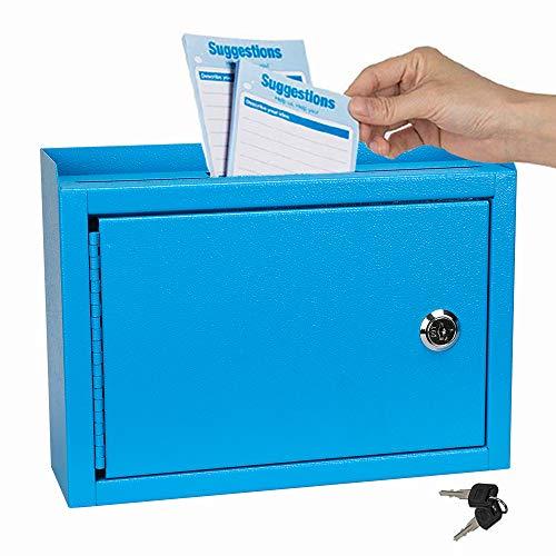"""Kyodoled Suggestion Box,Locking Mailbox, Key Drop Box, Wall Mounted Mail Box,Safe Lock Box,Ballot Box,Donation Box 9.8"""" W x 3"""" D x 7"""" H, Blue"""