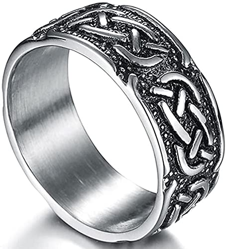9mm Vintage Stainless Steel Celtic Knot Ring Biker Cocktail Party (Grey, 9)