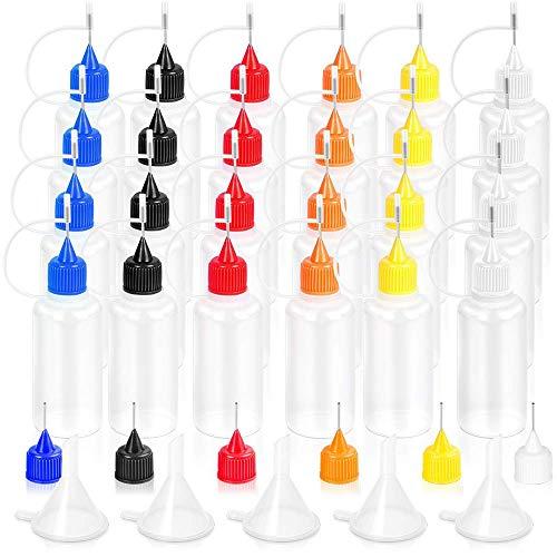 Applikator Flasche Präzisions-Kleber Kunststoff Flüssigkeit Tropfer Flaschen 24PCS, 30 ml und Nadeln Spitzen für Papier Quilling DIY Kunst Malerei mit 5 Stück Mini Trichter