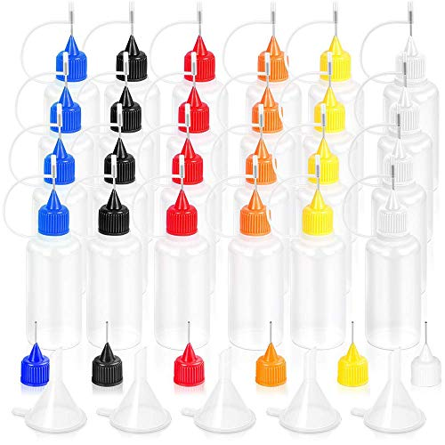 Aplicador de Botella de Pegamento con Punta de Aguja Herramienta de Quilling DIY Pintura, Botella de Precisión de aceite de aguja 30ml (24pack)