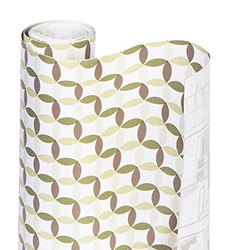 Smart Design Shelf Liner Adhesive - 18 Inch x 20 Feet - Drawer Cabinet Paper - Kitchen Olive Origami
