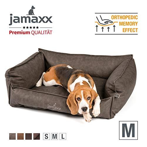 JAMAXX Premium Leder-Sofa Orthopädische Memory Visco Füllung, Hohe Seitenränder, Hunde-Couch mit Kunstleder Bezug, Reißverschluss, Hundebett PDB2019 (M) 90x70 grau