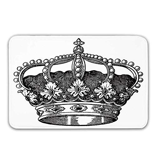 Queen Rubber Backing Alfombrillas antideslizantes, antiguo Royal Crown Kingdom Emperador Gobernante Zar...