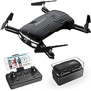RC Quadrocopter Drohne mit Kamera Live Video 2 Batterien Klappbare Arms Pocket Mini Drohne für Anfänger 2.4G 6-Achsen Headless-Modus RTF Helikopter