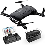ToyerBee Black Drone Rabing Foldable FPV VR Wi-Fi RC Quadcopter 2.4Ghz 6-Axis Gyro Remote Control Drone with 720P HD 2mp Camera Drone, Small, Black