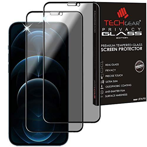 TECHGEAR 2 Stück Antispy Privatsphäre Panzerglas für iPhone 12 Pro Max - Full Coverage Privacy 3DTouch Sichtschutz mit Vollständige Abdeckung Panzerglas Kompatibel mit iPhone 12 Pro Max (6,7)