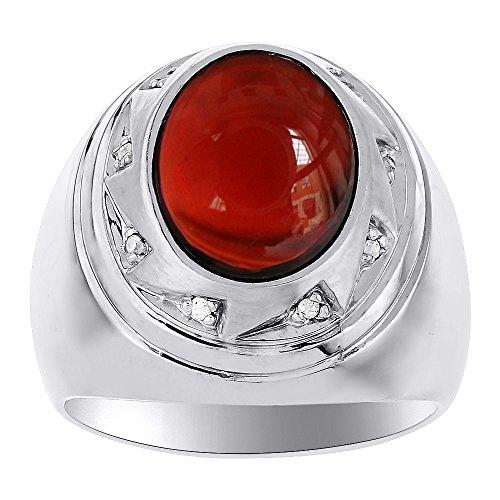 Para hombre plata o amarillo chapado en oro de plata de ley granate y anillo de diamante