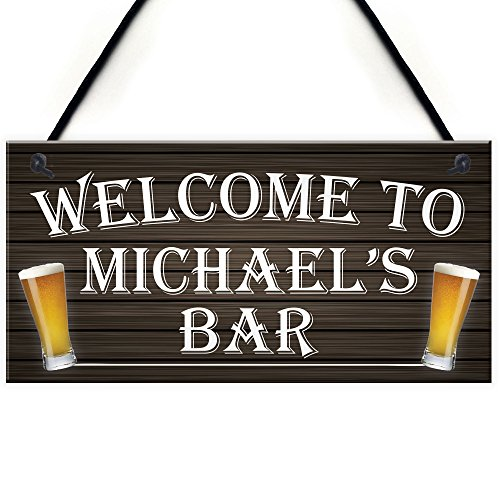 RED OCEAN Personalised Welcome Home Beer Bar Man Cave Alcohol Hanging Plaque Pub Garage Landlord Gift Sign