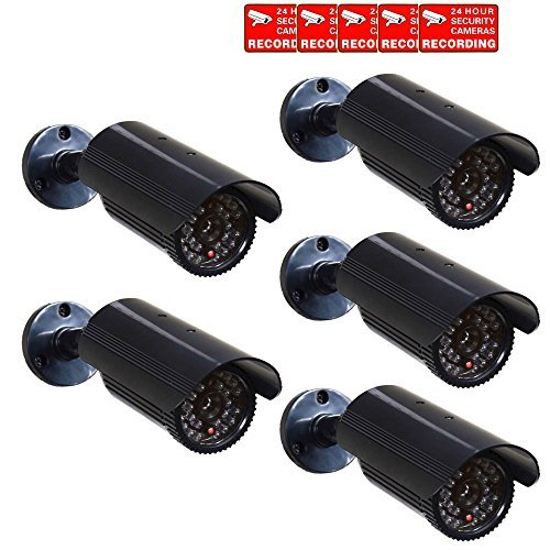 Lowest Price! VideoSecu 5 x Fake Dummy Security Cameras Fake Bullet Infrared LEDs Flashing Light Hom...