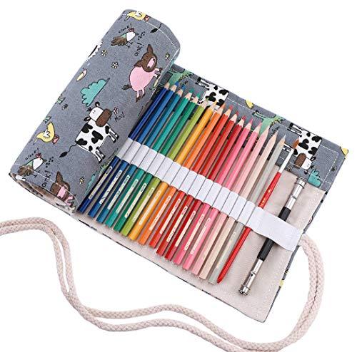 abaría - Estuche Enrollable para 72 lápices Colores, portalápices de Lona - Animal Lindo (no Tiene lápices)