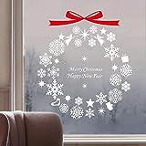 JXMN Geschenk Schneeflocke Windspiel Weihnachtsbaum Bogen Wandaufkleber Europa und Amerika Fensteraufkleber Aufkleber 42X47cm