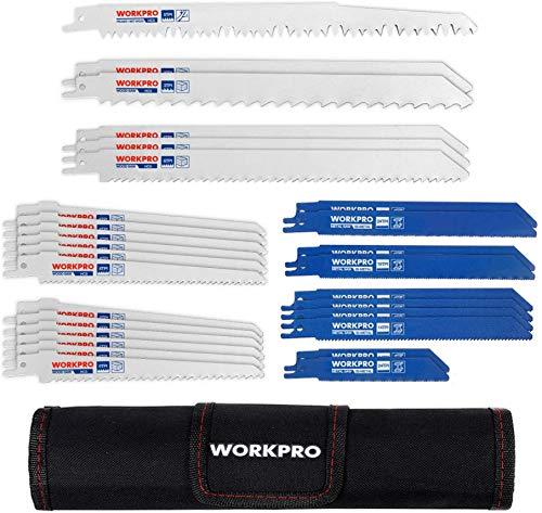 WORKPRO Sägeblatt Set für Holz & Metall & Kunststoff 32-teilige Säbelsägeblätter mit Handtasche (32 Stück) Kompatibel mit gängigen Sägen