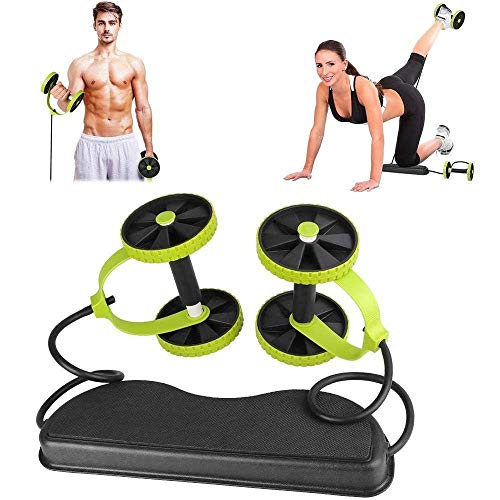 Multiusos Fitness Rodillo Rueda y Cuerda de Tracción Kits, Deporte Core Doble Rodillo AB Ruedas Elástico Abdominal Músculo muscular, muscular, elástico, resistencia abdominal, cuerda de tracción