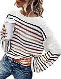 ZESICA Women's Long Bell Sleeve Rainbow Striped Loose Oversized Pullover Crop Sweater Shirt Tops