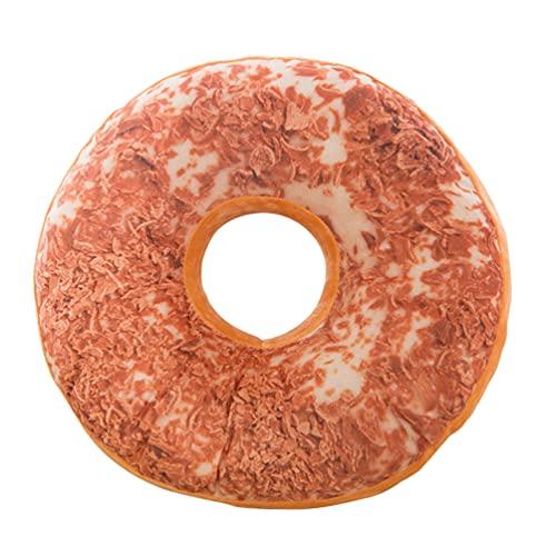 FAVOMOTO 3D Donut Redondo Almohada Decorativa Suave de Felpa Divertida Comida en Forma de Almohada Peso Ligero Cojín de Asiento para Sofá Silla Suelo Sofá Decoración del Hogar 40Cm Estilo
