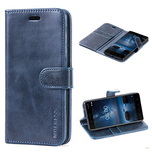 Mulbess Custodia per Nokia 8, Cover Nokia 8 Pelle, Flip Cover a Libro, Custodia Portafoglio per Nokia 8, Navy Blu