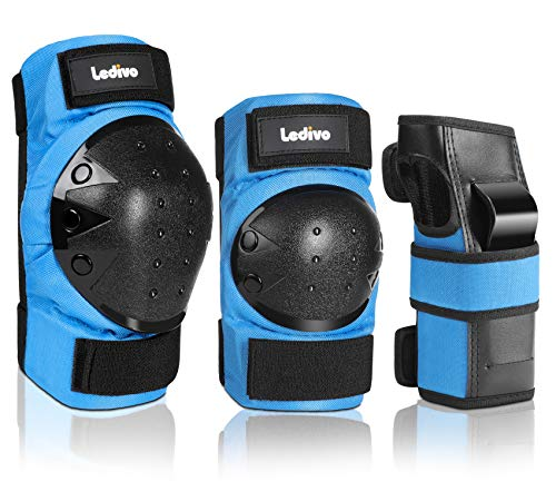 LEDIVO Adult/Child Knee Pads Elbow Pads Wrist Guards 3 in 1 Protective Gear Set for Multi Sports Skateboarding Inline Roller Skating Cycling Biking BMX Bicycle Scooter
